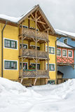 Hotel on ski resort in austrian Alps Royalty Free Stock Photo