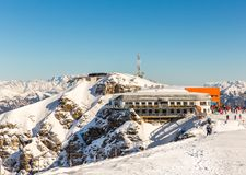 Hotel in ski resort Bad Gastein in winter snowy mountains, Austria, Land Salzburg,  Austrian alps Royalty Free Stock Photography