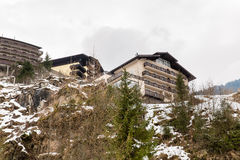 Hotel in ski resort Bad Gastein in winter snowy mountains, Austria, Land Salzburg Stock Photos