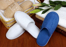 Hotel slippers Stock Photos