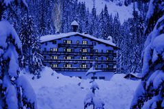 Hotel in snow royalty free stock image
