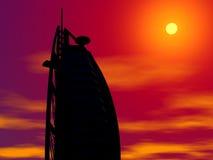 Hotel am Sonnenuntergang Stockbild
