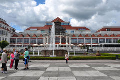 Hotel in Sopot. SOPOT, POLAND - JUNE 23: Tourists taking photos of Art Noveau style Health Spa House on June 23, 2015 in Sopot, Poland Royalty Free Stock Photography