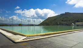 Hotel spa monte argentario end clouds white (toscany). Pool on top of a hotel in the heart of Mount Argentario Royalty Free Stock Image