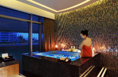 The hotel SPA SPA. Hot spring pool,Health campaign,candlelight,romantic,enjoy,Rose bath Stock Photos