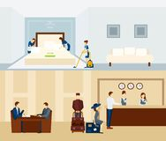 Hotel Staff Banner. Hotel staff horizontal banner set with reception and room staff  vector illustration Stock Photo