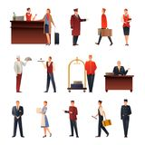 Hotel Staff Flat Icons Set. Hotel staff set of flat gradient icons with manager, doorman, guard, maid, chef, receptionist isolated vector illustration Stock Photos