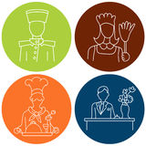 Hotel Staff Icons Stock Photography