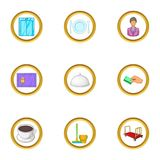 Hotel staff icons set, cartoon style Stock Photography