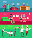 Hotel staff and service. Reception, Room cleaning and restaurant, detailed character porter, chambermaid, chief cooker, cool flat tourism elements Stock Photos