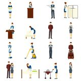 Hotel Staff Set. Hotel staff flat icons set with maid and waiter characters  vector illustration Royalty Free Stock Image