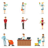 Hotel staff set for label design. Colorful cartoon detailed Illustrations Royalty Free Stock Photography