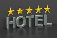 Hotel 5 stars concept, 3D rendering. On black background stock illustration