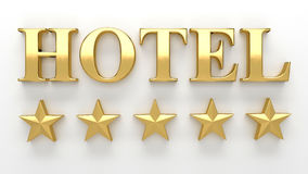 Hotel with stars - gold 3D render on the wall background with so Stock Images