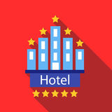 Hotel 5 stars icon, flat style. Hotel 5 stars icon in flat style with long shadow. Temporary residence symbol Royalty Free Stock Photos