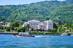 Hotel in Stresa on Maggiore Lake,  Italy. Grand Hotel Bristol in Stresa. View from the Maggiore Lake Royalty Free Stock Image