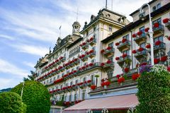 Hotel in Stresa on Maggiore Lake,  Italy. Grand Hotel Bristol in Stresa. View from the Maggiore Lake Royalty Free Stock Images