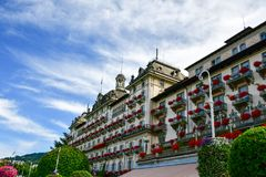 Hotel in Stresa on Maggiore Lake,  Italy. Grand Hotel Bristol in Stresa. View from the Maggiore Lake Stock Photography