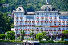 Hotel in Stresa on Maggiore Lake,  Italy. Grand Hotel  Grand Hotel des Iles Borromees.in Stresa. View from the Maggiore Lake  Ernest Hemingway visited the town Royalty Free Stock Photography