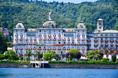 Hotel in Stresa on Maggiore Lake,  Italy. Grand Hotel  Grand Hotel des Iles Borromees.in Stresa. View from the Maggiore Lake  Ernest Hemingway visited the town Stock Photography