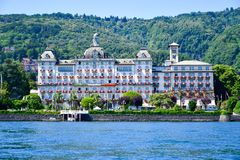 Hotel in Stresa on Maggiore Lake,  Italy. Grand Hotel  Grand Hotel des Iles Borromees.in Stresa. View from the Maggiore Lake  Ernest Hemingway visited the town Stock Image