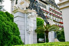 Hotel in Stresa on Maggiore Lake,  Italy. Grand Hotel  Grand Hotel des Iles Borromees.in Stresa. View from the Maggiore Lake  Ernest Hemingway visited the town Stock Photo