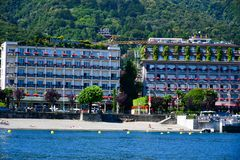 Hotel in Stresa on Maggiore Lake,  Italy. Grand Hotel  Grand Hotel des Iles Borromees.in Stresa. View from the Maggiore Lake  Ernest Hemingway visited the town Royalty Free Stock Photo