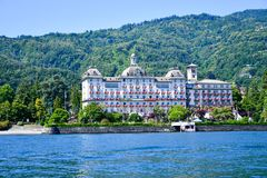 Hotel in Stresa on Maggiore Lake,  Italy. Grand Hotel  Grand Hotel des Iles Borromees.in Stresa. View from the Maggiore Lake  Ernest Hemingway visited the town Stock Photos