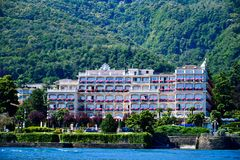 Hotel in Stresa on Maggiore Lake,  Italy. Grand Hotel  Grand Hotel des Iles Borromees.in Stresa. View from the Maggiore Lake  Ernest Hemingway visited the town Stock Images