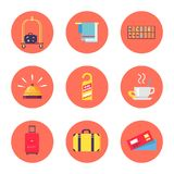 Hotel Stuff and Baggage Icons Vector Illustration. Icons with luggage and hotel stuff like bellmen s cart, towels, do not disturb sign. Vector illustration with Stock Photography