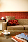 Hotel suite living room with interior design stock photography