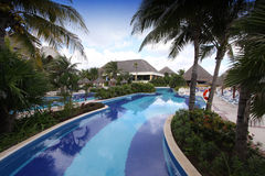 Hotel swimming pool in Mexico Stock Photo