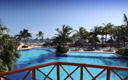 Hotel swimming pool in Mexico Stock Images