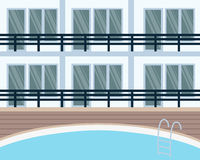 Hotel with swimming pool Stock Image