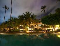 Hotel swimming pool at night Stock Photo