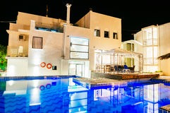 Hotel swimming pool. At night, Thassos island Greece Royalty Free Stock Photography