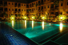 Hotel swimming pool. In night time Stock Image