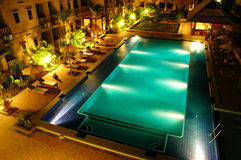 Hotel swimming pool. At night time Royalty Free Stock Photography