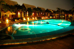 Hotel swimming pool. At night time Royalty Free Stock Photos