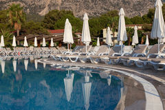 Hotel swimming pool with no tourists in Turkey Stock Photography