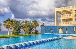 Hotel swimming pool and beautiful sea view, Cyprus. stock photo