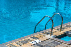 Hotel swimming pool with sunny reflections Royalty Free Stock Photos