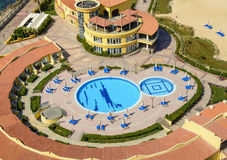 Hotel Swimming Pool. Top View of Hotel Swimming Pool Royalty Free Stock Photos