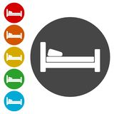 Hotel symbol, hospital bed, The bed icons set vector illustration