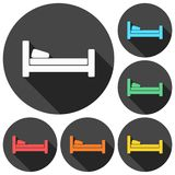 Hotel symbol, hospital bed, The bed icons set with long shadow Stock Photography