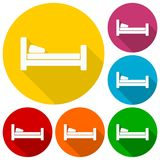 Hotel symbol, hospital bed, The bed icons set with long shadow vector illustration