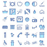 Hotel symbols. Most popular symbols for description hotel's services Royalty Free Stock Images