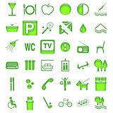 Hotel symbols. Most popular symbols for description hotel's services Royalty Free Stock Photography