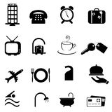 Hotel symbols icon set. Hotel related symbols or buttons icon set Royalty Free Stock Photo