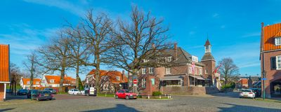 Hotel `t Lansink at C.T. Stork square in Tuindorp, Hengelo. Historical Place in Hengelo stock image